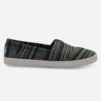 Toms Neon Tribal Stripe Avalon Womens Slip-Ons Grey  In Sizes