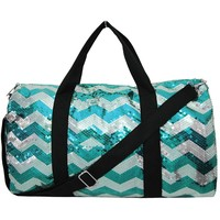 Adorable Sequin Chevron Pattern Large Duffle Bag (Aqua)