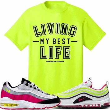 Air Max White Rush Pink Volt Sneaker Tees Shirt to Match - BEST LIFE