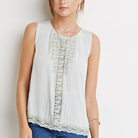 Floral Lace-Trimmed Top