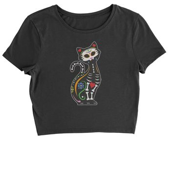 Skeleton Cat Day Of The Dead Cropped T-Shirt