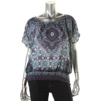 JM Collection Womens Sheer Rhinestone Pullover Top