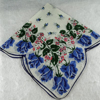 "Vintage Handkerchief,White With Blue Roses 15 1/2"" Scalloped Edge Hankie Crafting, Sewing, Framing, Quilting,  Great Gift Idea, Quilting Y9"
