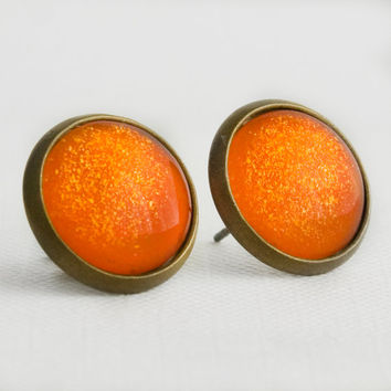 Pumpkin Patch Post Earrings in Antique Bronze - Orange and Yellow Glitter Halloween Stud Earrings
