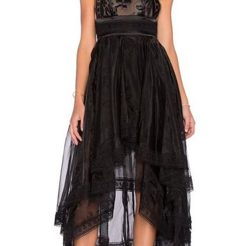 Black Patchwork Lace Zipper Grenadine Irregular High-low Midi Dress