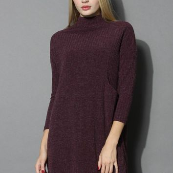 Basic Ribbed Knit Dress in Burgundy
