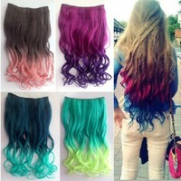 2013 New Two Tone One Piece Long Curl/curly/wavy Synthetic Thick Hair Extensions Clip-on Hairpieces 16 Colors (black):Amazon:Beauty