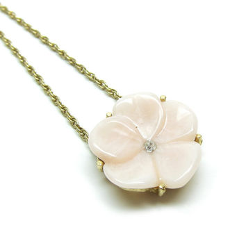 Pink Pansy Necklace Avon Vintage Flower Pendant with Rhinestone Center on Gold Chain