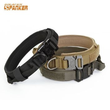 "SPANKER 1.5"" Dog Collar Military Nylon Tactical Training Hunting Led Necklace for Big Dogs Adjustable Quick Release Collar~"