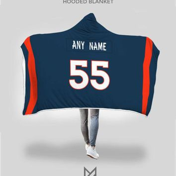 Denver Broncos Hooded Blanket - Personalized Any Name & Any Number
