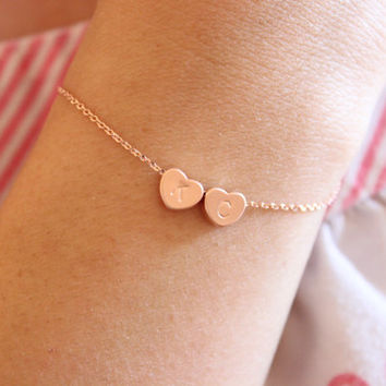 Gold or Silver Available, Tiny heart bracelet, dainty heart initials  bracelet, delicate bracelet, sister gift, gift for girlfriend