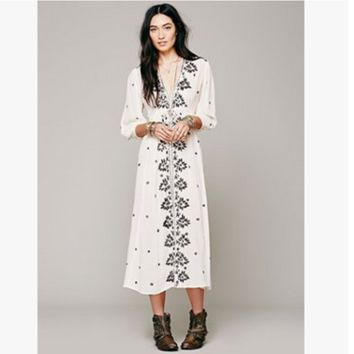 """Free People"" Fashion Boho Retro Embroidery Flower V-Neck Middle Sleeve Maxi Dress"