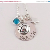 On Sale Personalized Volleyball Charm Necklace with Sterling Silver Charm, Sterling Silver Star and Swarovski Crystal Birthstone