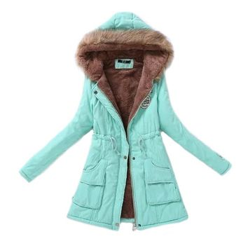 Trendy Winter Jacket Women Parka Fashion Autumn Winter Warm s Women Fur Collar Coats Long Parkas Hoodies Office Lady Cotton Plus Size AT_92_12
