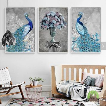 Shengfei Painting Peacock and Flower Canvas Art Print Painting Poster Wall Pictures For Living Room Home Decoration No Frame