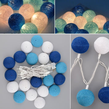 Aladin Romantic 3M 20 Blue Cotton BALL String Light For Xmas Party Decoration = 1930149636