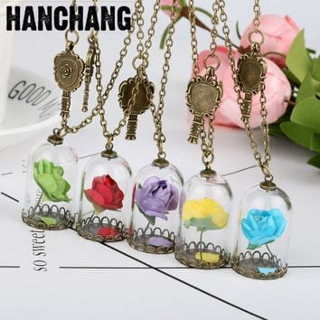 New 2017 Vintage Glass Dried Flower Mirror Magic Bottle Copper Necklace Rose Valentine'S Day Gift Handmade Beauty Beast Jewelry