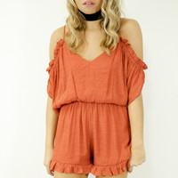 Carrington Point Brick Cold Shoulder Romper