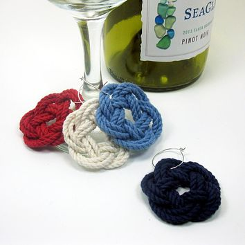 Sailor Knot Wine Charms Woven turkshead knots