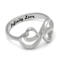 "Infinity Ring - Love Ring Engraved on Inside with ""Infinity Love"", Sizes 6 to 9"