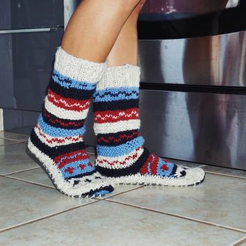 Blue Hand Knit Wool Long Slipper Socks | Tibetan Socks