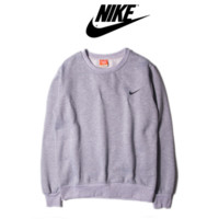 NIKE fashion round neck sets of long-sleeved sweater sweater autumn and winter sports couple Sweater Gray