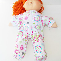 Cabbage Patch Clothes, fits 16 inch girl doll, pajamas pjs sleeper, 'Emma in Stars'