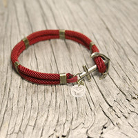 Nautical sailor's anchor bracelet - New Haven - Red