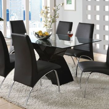 CM8370BK-T-7PC 7 pc wailoa modern glass table top black finish x-shaped base dining table set