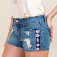 Harper Mid Rise Destructed Embroidered Jean Shorts