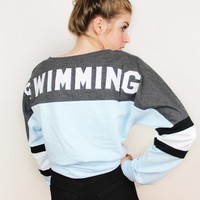 Swimming Appliqué Lace Up Jersey - Blue