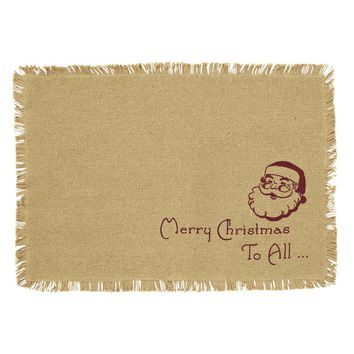 Burlap Santa Placemat Fringed Merry Christmas Set 6-12x18