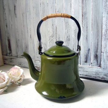 Green Enamel Teapot, Small Green Vintage Tea Pot, Metal Teapot, Photo Prop, Gift Ideas