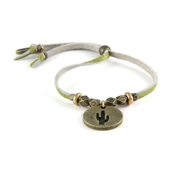 World on a String Brass Bracelet with Cactus Charm