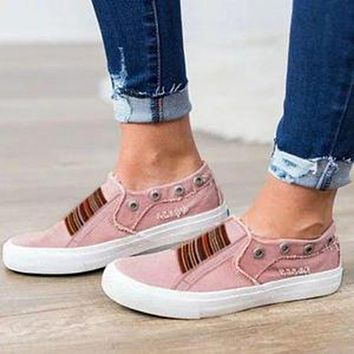 Summer fashion new large size flat bottom elastic washed denim one foot couple single shoes Pink
