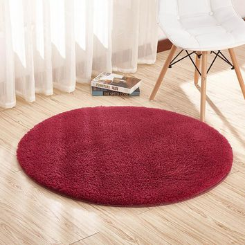 9 Color Home Berber Fleece Carpets Round Thicken Soft Rugs