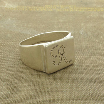 Refined Initial Ring / Sterling Silver Engraved Ring / Personalized Unisex Ring