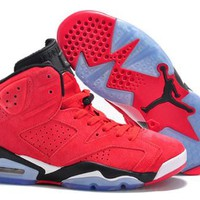 Cheap Nike Air Jordan 6 Men Shoes Fur Red Black White