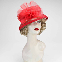 Elegant Cloche Summer Time Bell Hat Red