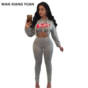 Two Piece Set 2017 Casual Winter Women's Tracksuits Crop Top + Pants Zipper Sexy Sweatsuit Long Sleeve 2 Piece Set Women