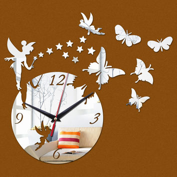 New Wall Stickers Home Decor Poster Diy Europe Acrylic Large 3d Sticker Still Life Wall Clock Horse Butterfly