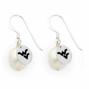Buy West Virginia Mountaineers Silver and Freshwater Pearl Drop Earrings