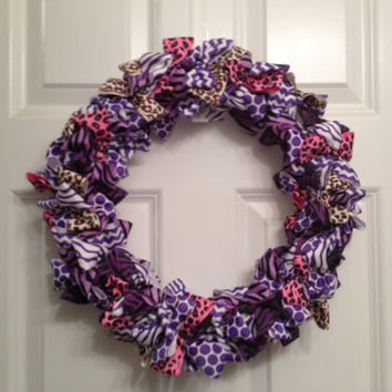 Leopard zebra print purple pink and brown wreath