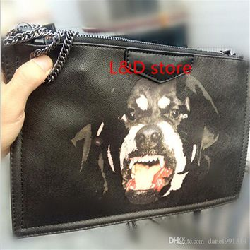 2016 new fashion women Bambi Rottweiler Dog bag wallet day Clutches Leather Evening Bags chain bag