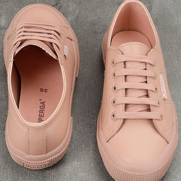 Superga 2750 FGLU WT Pink Leather Sneakers