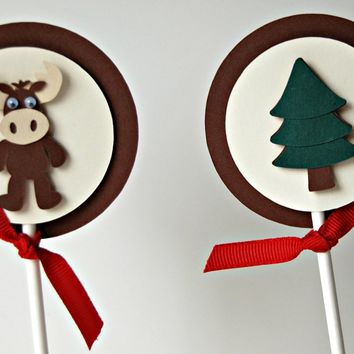 Moose Birthday Party Cupcake Toppers - Woodland Themed Birthday - Outdoors Party - Fall Theme - Hunting Party (set of 12)