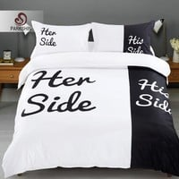 Parshin Bedding Set His Side Her Side Couples Duvet Cover Sheet Bedspread Comforter Linens Double For Two Queen King Bedclothes
