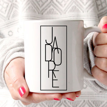 "Cute ""J'adore"" Coffee Mug - Tea cup - wedding gift - Bridal Shower - coffee cup - cute brides gift - birthday present"
