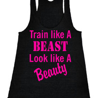 Train like a beast look like a beauty Yoga Racerback Shirt Crossfit fitness Running Tank Motivational Workout Tank Top Black IPW00010