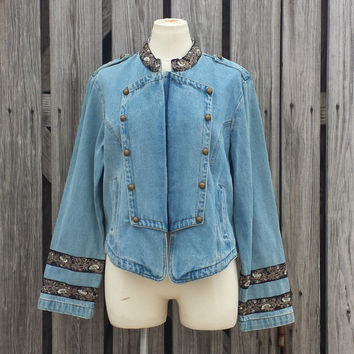 VTG - Women's Sgt. Pepper Denim Jacket - AMAZING - Unique - SZ M / L